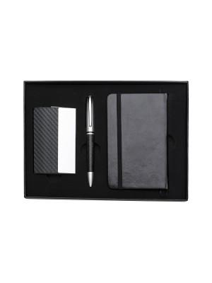 KIT Porta Cartão, Caneta e caderneta Tipo Moleskine 998