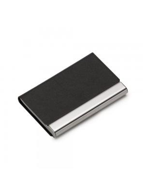 Porta Cartão de Metal c/detalhe couro sintético texturizado 13104